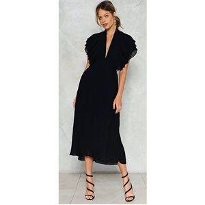 Black Backless Midi Dress
